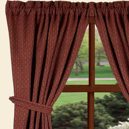 "Philmont Jacquard 84"" x 86"" (2 pcs)(pair of fabric tiebacks included) Barn Red - Oat"
