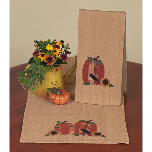 """Pumpkin~Crow~Sunflower 14"""" x 36"""" Tea Dyed"""