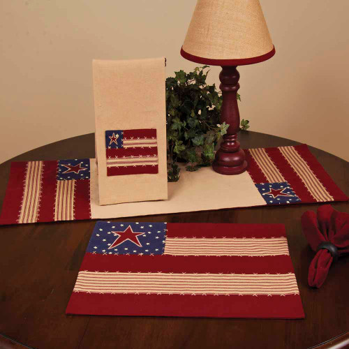 """Stars and Stripes 14"""" x 36"""" Quilted Nutmeg - Indigo - Barn Red"""