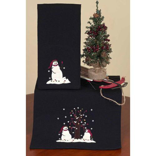 "Snowmen with Tree 14"" x 36"" Black"