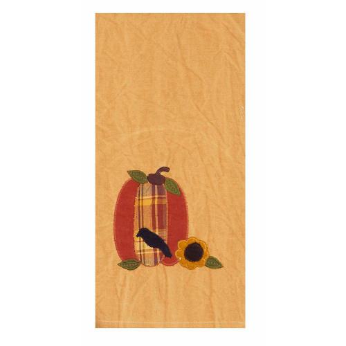 """Pumpkin~Crow~Sunflower 18"""" x 28"""" Tea Dyed"""