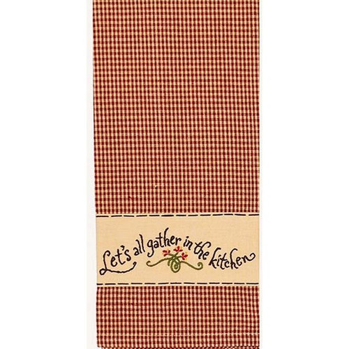 """Let's All Gather  18"""" x 28"""" Barn Red - Nutmeg"""
