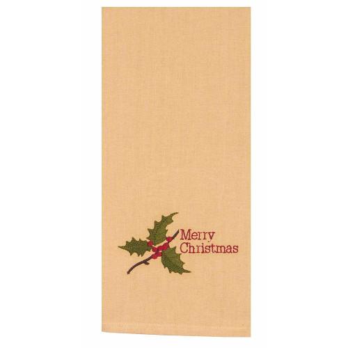 """Merry Christmas Holly 18"""" x 28"""" Nutmeg"""