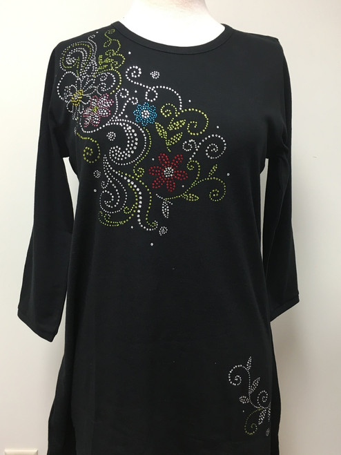 Multi Flower & Swirl 3/4 Sleeve Tunic Black