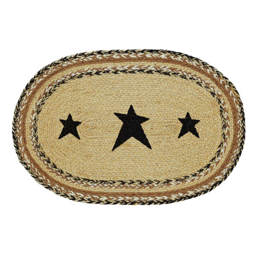 Kettle Grove Jute Placemat Stencil Star Set of 6 12x18
