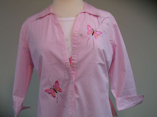 Pink Butterfly Glitz 3/4 Sleeve Shirt