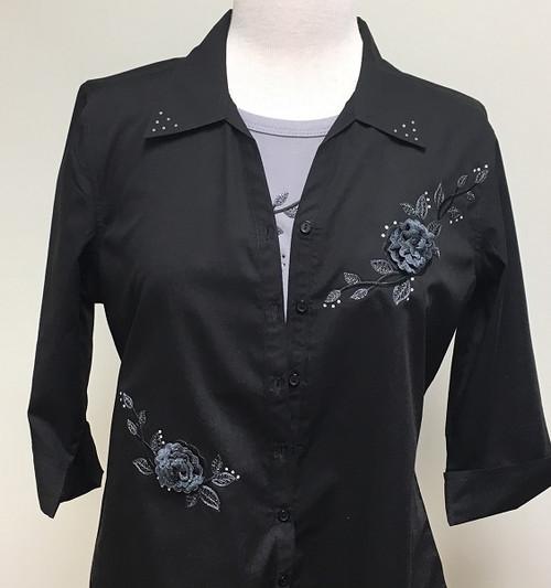 Black in Bloom 3/4 Sleeve Shirt