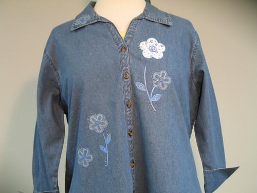 Denim Floral 3/4 Sleeve Shirt