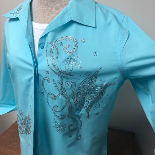 Butterflies & Flower Decor 3/4 Sleeve Shirt