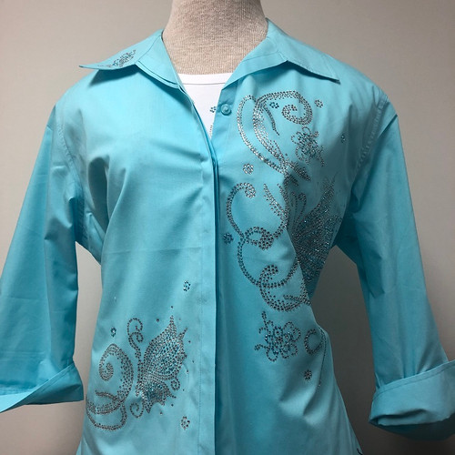 Butterflies & Flower Decor 3/4 Sleeve Shirt