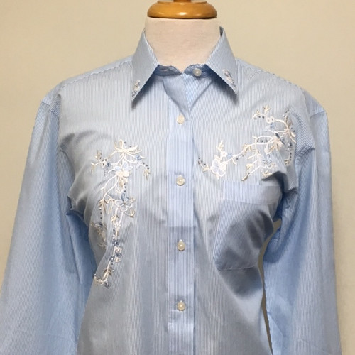 Powder Blue Floral L/S Shirt