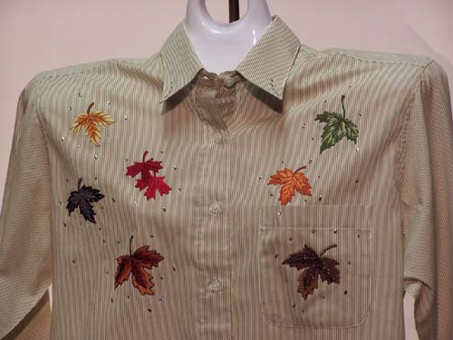Leaves design on a Taupe Stripe Shirt