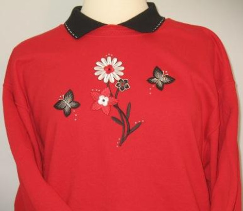 Red & Black Flower Sweatshirt