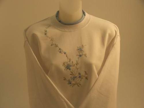 Powder Blue Floral Sweatshirt