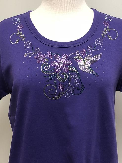 Hummingbird Flower (Purple) Scoop Neck Tee