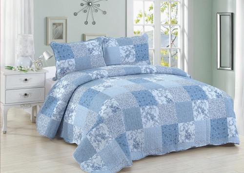 Blue Patch King Quilt SET