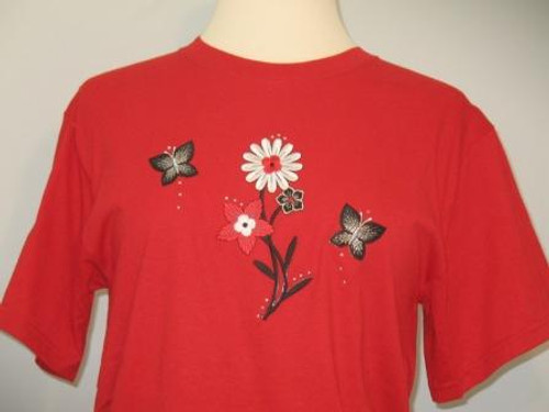 Red & Black Flower T-Shirt