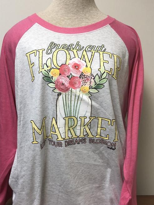 Flower Market 3/4 Raglan Sleeve Top