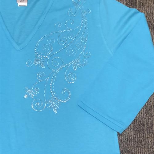 Mona Mixed 3/4 Sleeve V neck Tunic