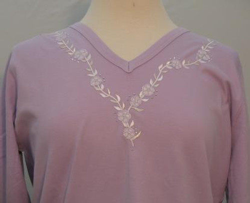 Lavender Bouquet 3/4 Sleeve V-Neck