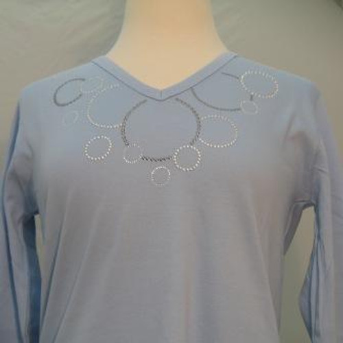 Metallic Circles 3/4 Sleeve V-Neck