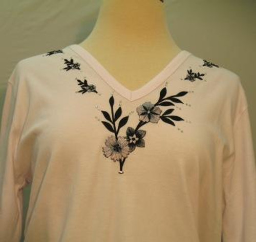 Black Floral 3/4 Sleeve V-Neck