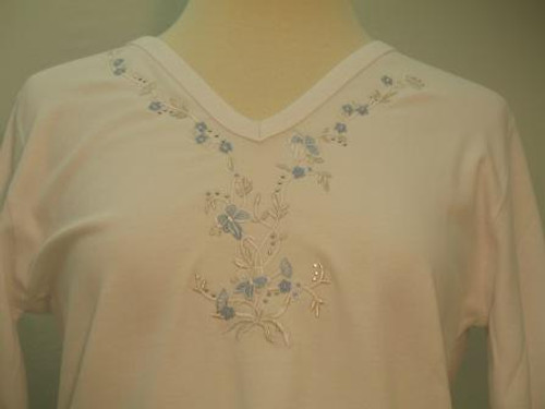 Powder Blue Floral 3/4 Sleeve V-Neck