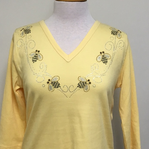 Glitz Bee 3/4 Sleeve V-Neck