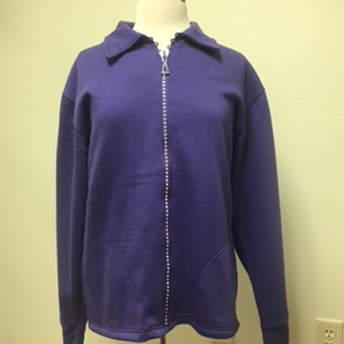 Rhinestone Zip Cardigan- Purple