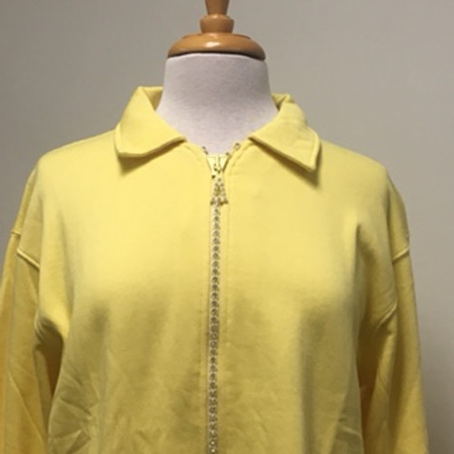 Rhinestone Zip Cardigan- Yellow
