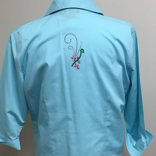 Aqua Glitz 3/4 Sleeve Shirt