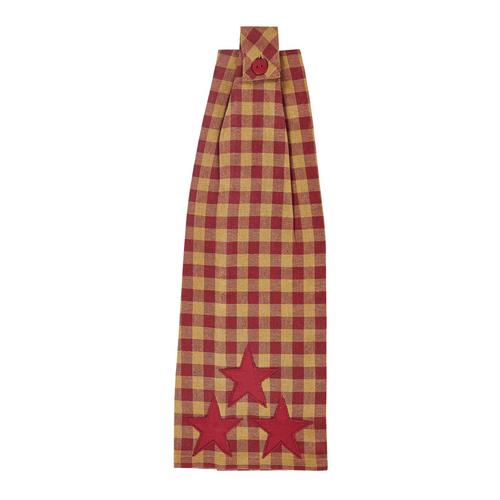 Burgundy Star Button Loop Kitchen Towel