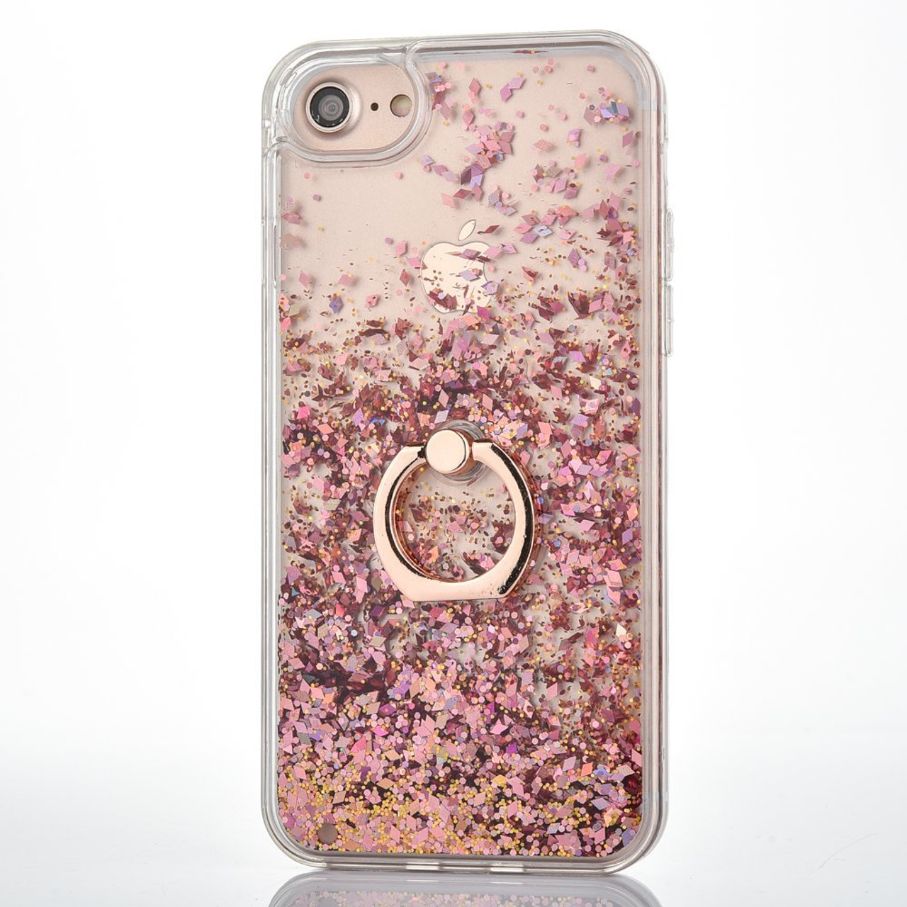Clear Hard Iphone 6 6s Case With Floating Glitter Rose Gold