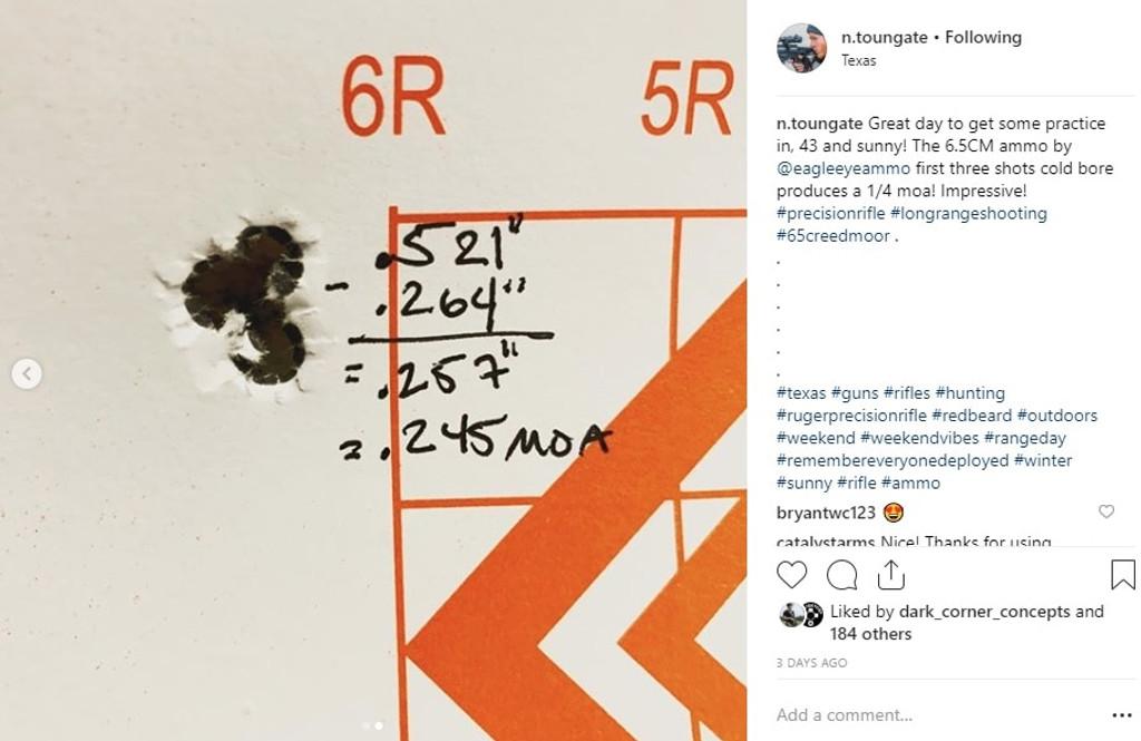 Instagram User Review of Eagle Eye 6.5 Creedmoor 130gr Hybrid