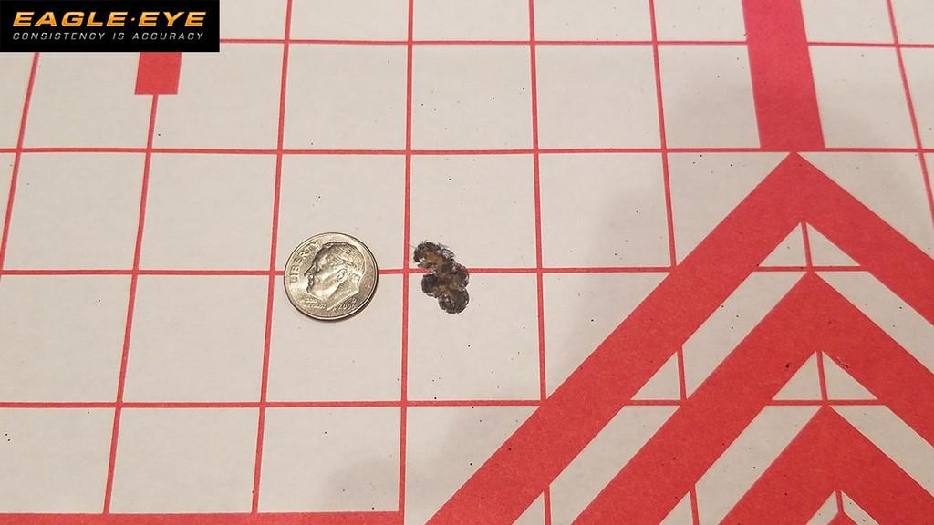 Eagle Eye 6mm Creedmoor 105gr Hybrid 5 Shot Dime Size Group