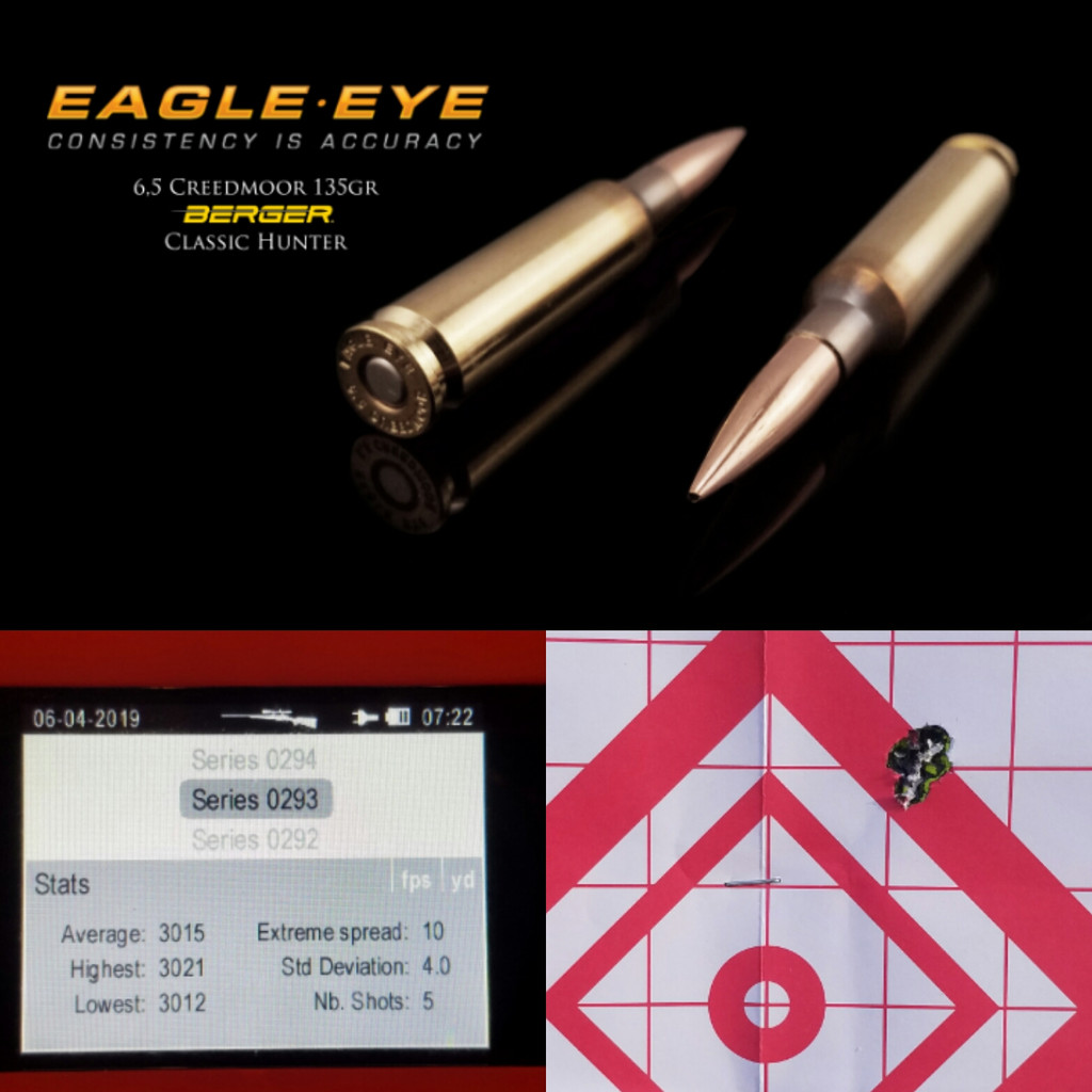 Eagle Eye 6.5 Creedmoor Berger 135gr Classic Hunter Precision Match Hunting Ammunition Performance