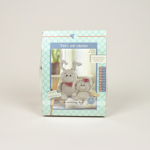 Go Handmade Laura 8cm & Andy 11cm Rabbit Knitting Kit