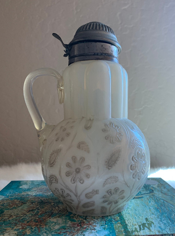 1890's Findlay Onxy Glass Pitcher with Metal Lid