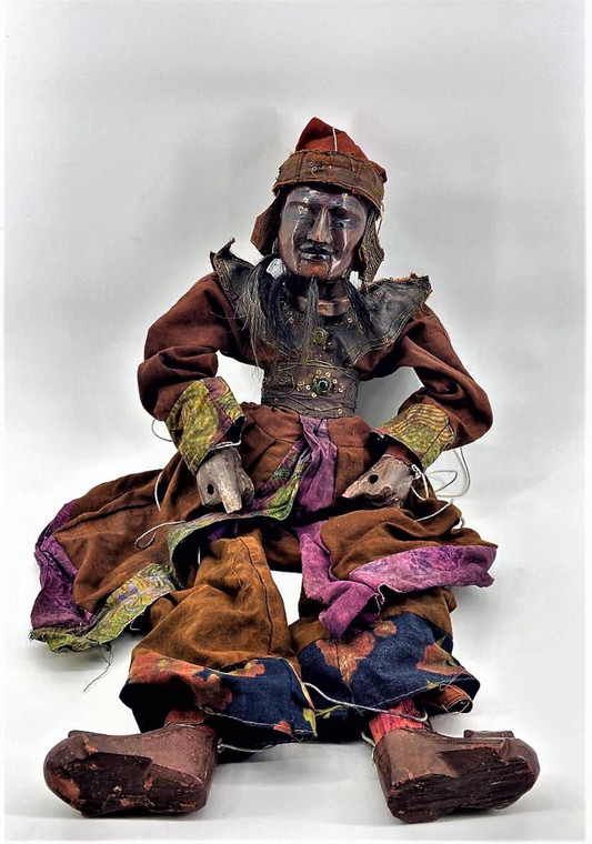 This amazing Marionette Puppet is in good condition with wear commensurate with age. Made from solid wood and real stitched clothing. Faux gems are set into the robe.