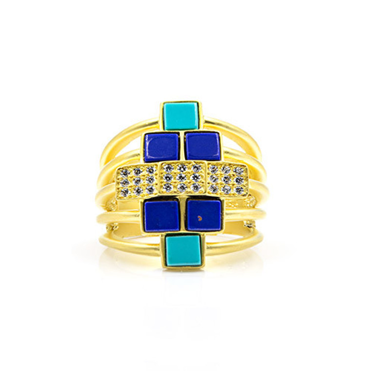 Freida Rothman 14K Gold Plated Sterling Silver Ring With Hand Cut CZ Stones & Reconstituted Turquoise & Lapis.