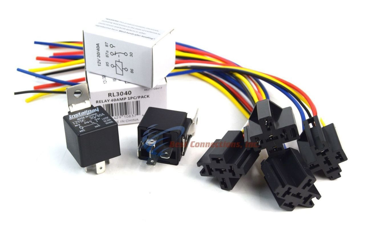 (4 Pack Bundle) 30/40 AMP Relay + 5-Wire Relay Socket w/ Leads Metra  Amp Vdc Relay Wiring on