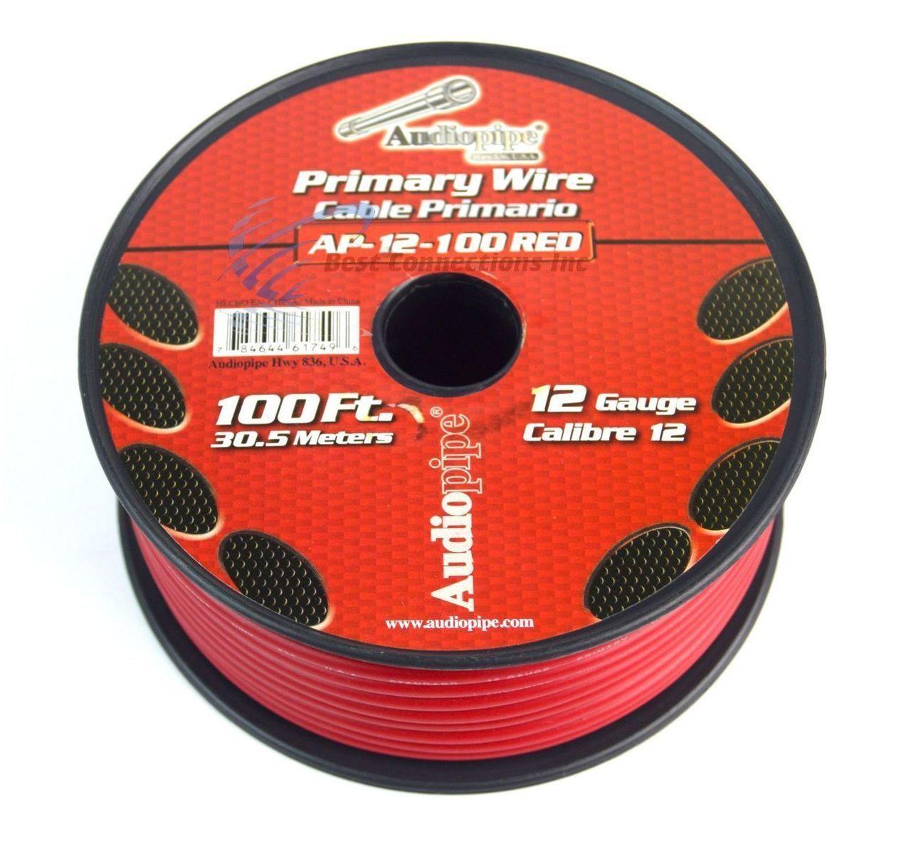 12 Ga Gauge 100 Red Audiopipe Car Audio Home Primary Wire Best Wiring