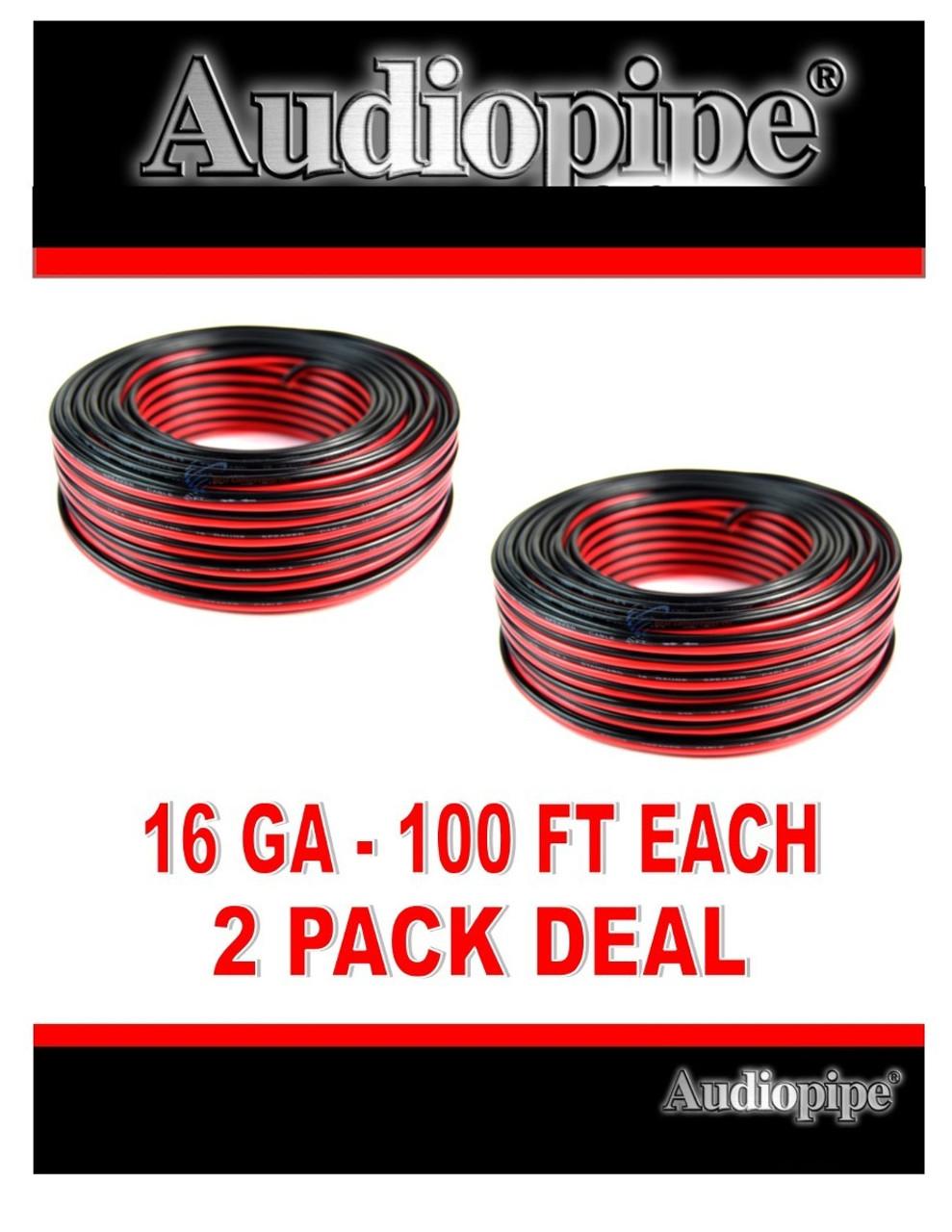 Audiopipe 12 Gauge 250 Feet Speaker Wire Red Black 2 Conductor Copper Clad Zip Cord