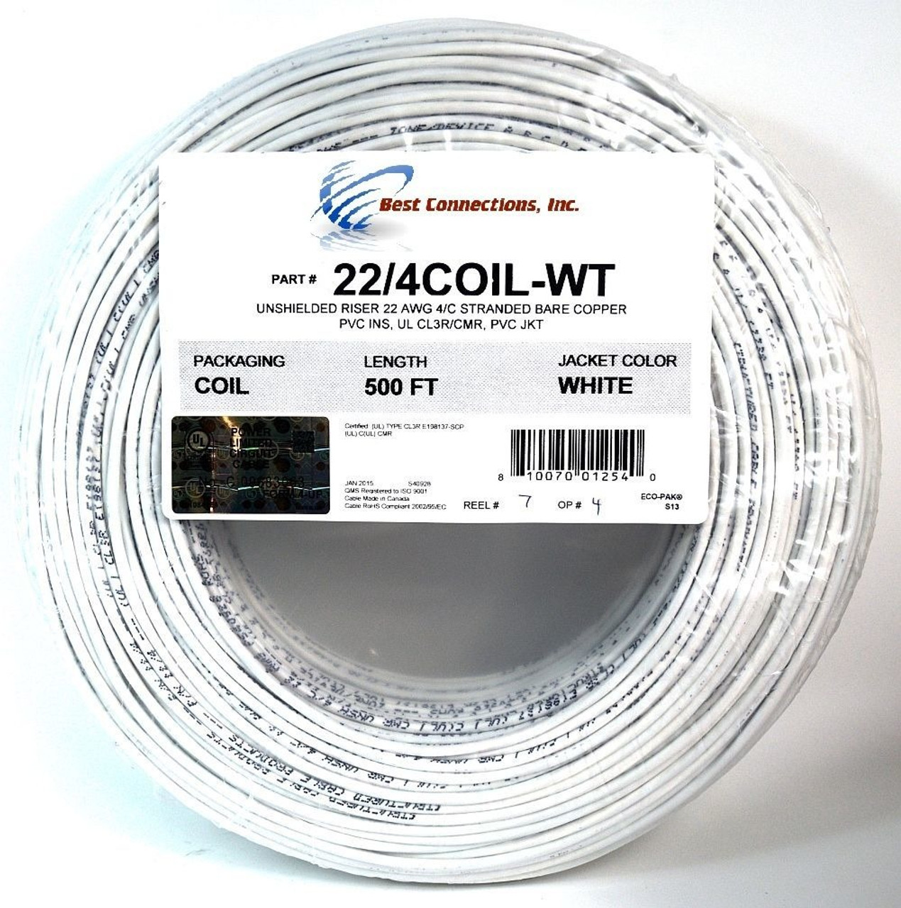 22 GAUGE 4 CONDUCTOR 25 FT WHITE ALARM WIRE STRANDED COPPER HOME SECURITY CABLE