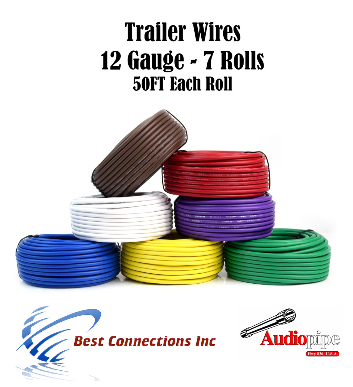 Audiopipe Trailer Wire Light Cable for Harness 7 Way Cord 12 Gauge 100ft roll 7 Rolls