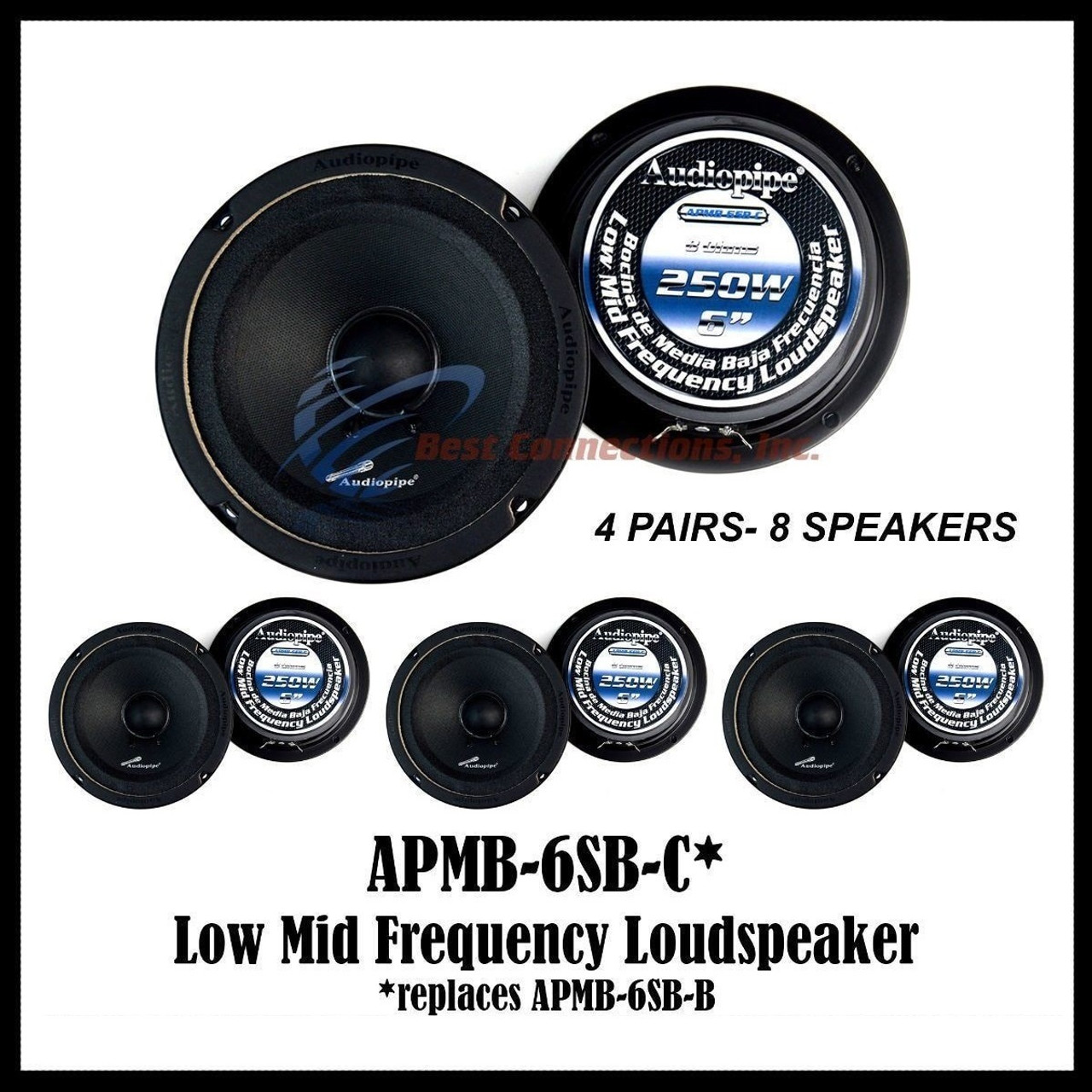 2 Pair Audipipe APMB-6SB-C Sealed Back Car Audio Full Range Loud Speakers 4 Pcs