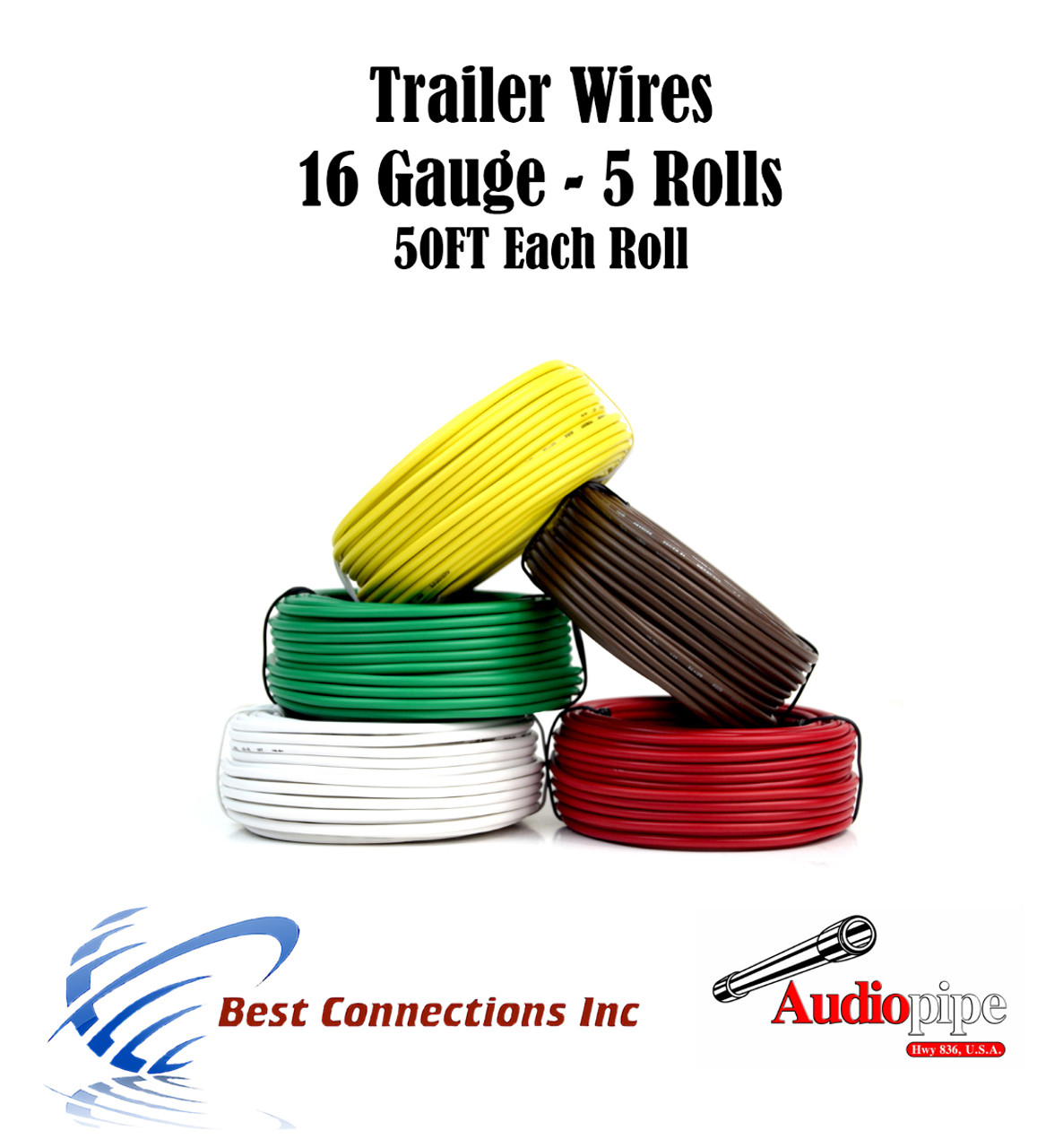 5 Way Trailer Wire Light Cable for Harness 50 FT Each Roll 16 Gauge  Wire Harness Gauge on 2 gauge wire, 8 gauge wire, 20 gauge wire, 10 gauge wire, 9 gauge wire, 28 gauge wire, 0 gauge power wire, 16 wheel wire, copper wire, 14 gauge wire, 4 gauge wire, automotive wire, 18 gauge wire, speaker wire, 1 gauge wire, 32 gauge wire, 15 gauge wire, 6 gauge wire, heavy gauge wire, 40 gauge wire,