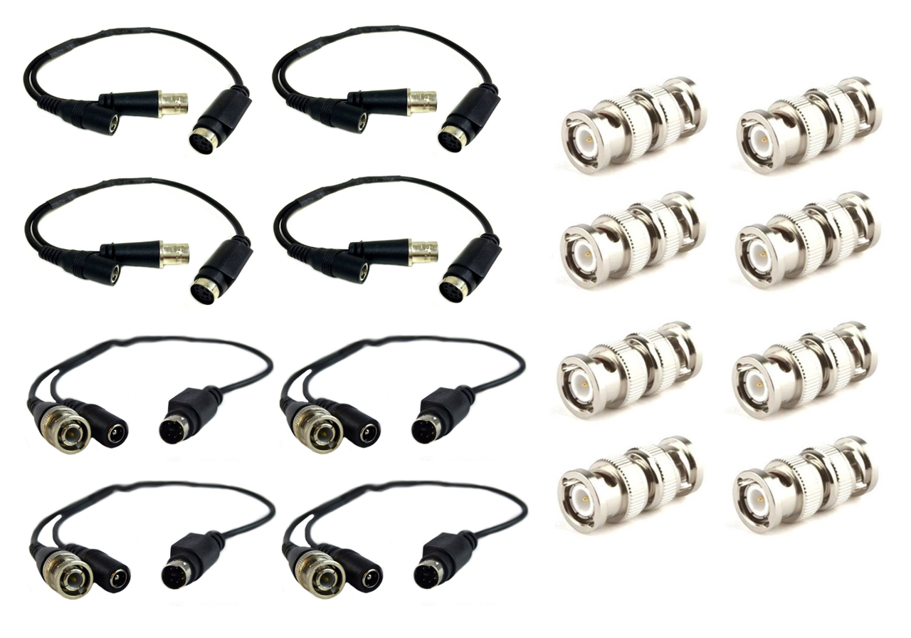 BNC Female Adapter w// 8 BNC Male Connectors 8 Pcs Swann 4-Pin DIN Connector