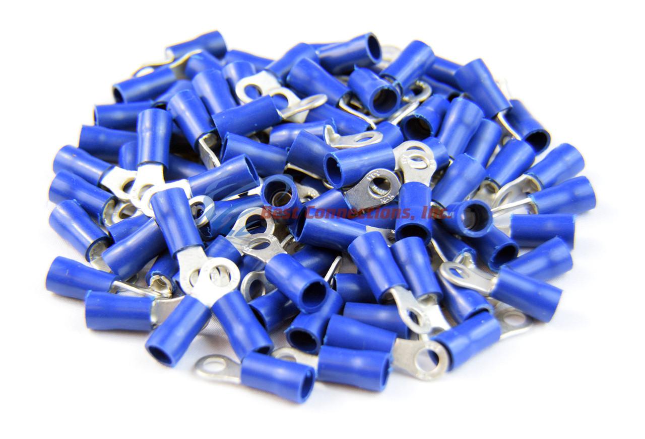 "100 PK Blue Vinyl Insulated Ring Terminal 16-14 Gauge 1//4/"" Metra Install Bay"