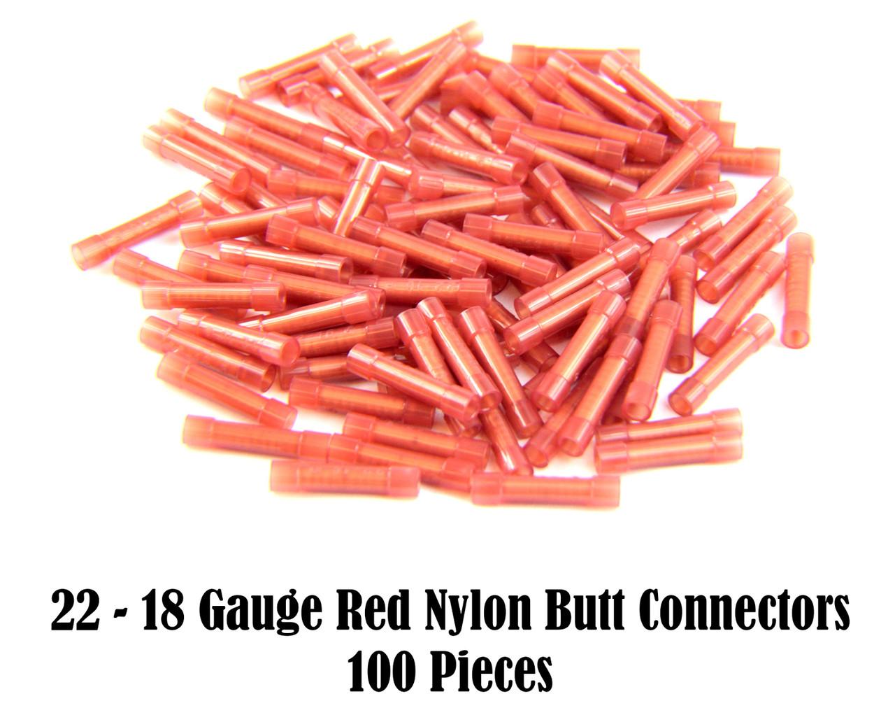 100 PCS 22-18 GA Gauge 12v Red Nylon Male Disconnect Install Bay